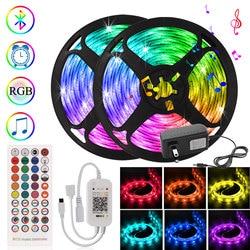 Bluetooth Control Smart LED Strip RGB 5050 SMD Diode Tape DC 12V Adapter Ribbon Led Lights Decoration for Home Room 5m 17.5m 30m