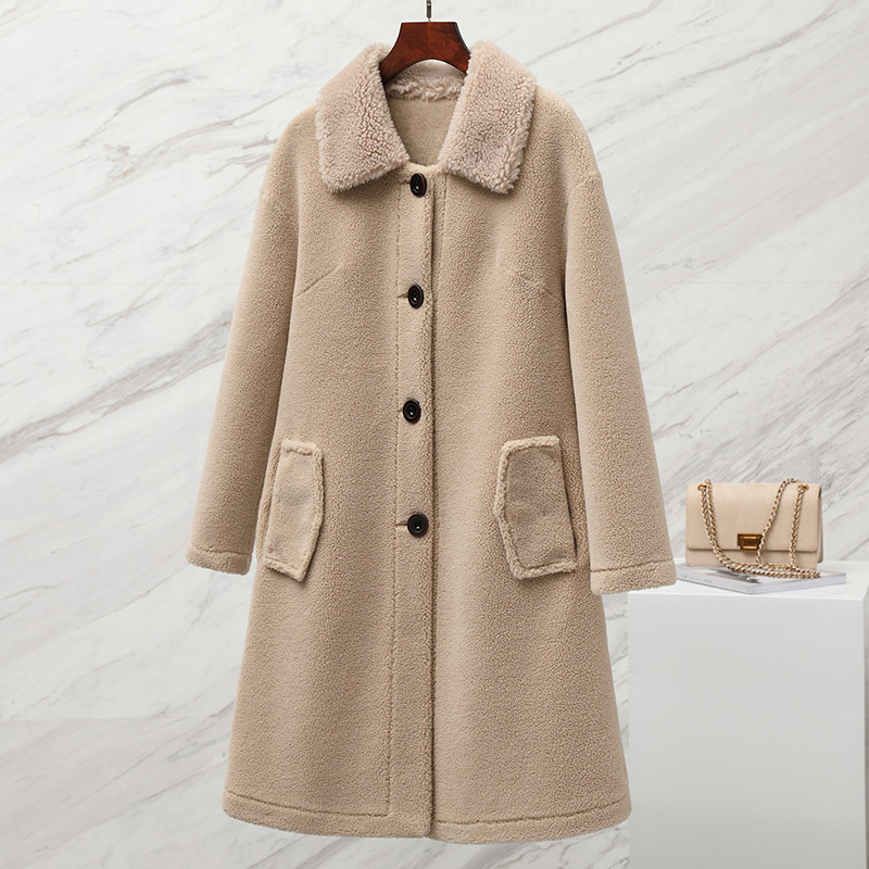 Real Fur Coat Female Vintage Sheep Shearing Long Jacket Women Clothes 2019 Korean Elegant Ladies Wool Warm Coats 19C3372