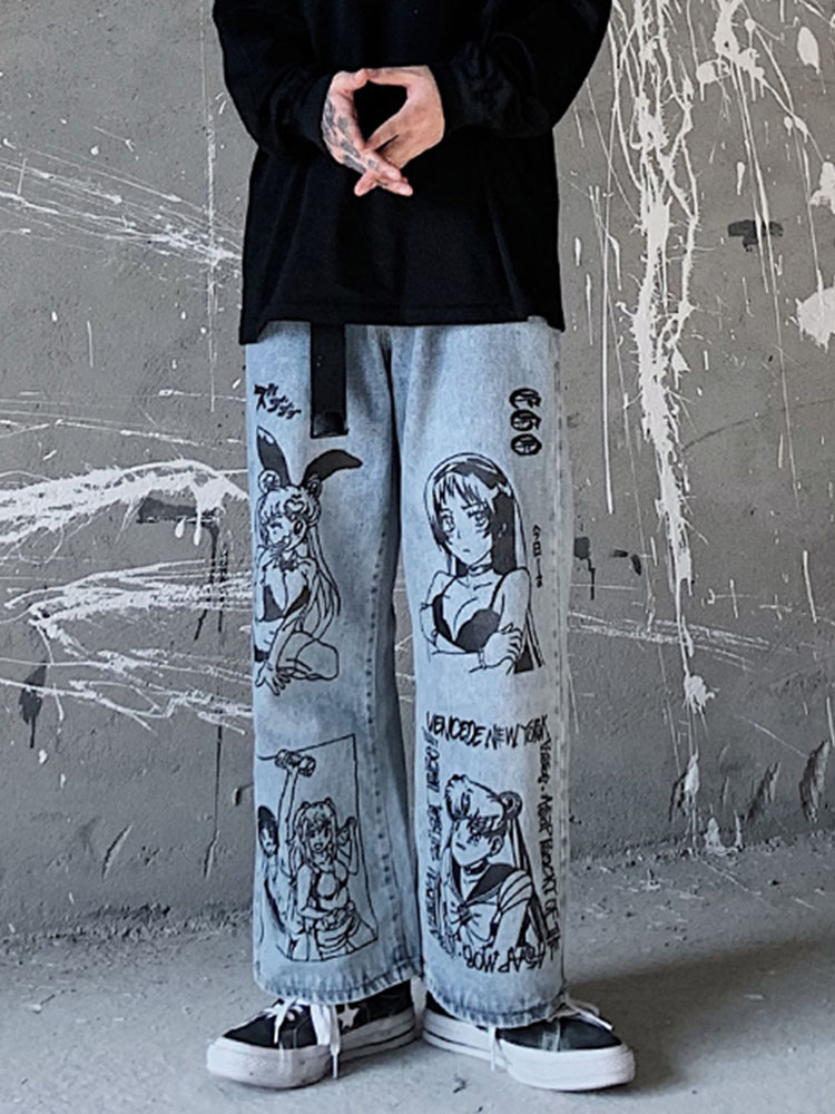 Printed Jeans Graffiti UNCLEDONJM Street Harajuku Loose Fashion Cartoon Casual Men's