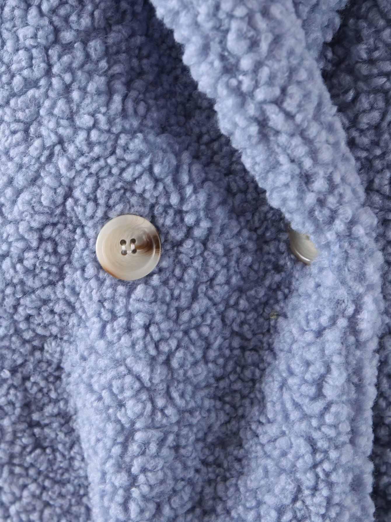 Musim Dingin Bulu Mantel Wanita Tombol Kasmir Mantel Besar Longgar Jaket Lembut Hangat Lebih Tahan Dr