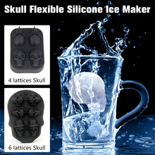 Skull Flexible Silicone Ice Maker Skeleton Model Four Giant Skulls Round Cube With Funnel Drop shipping