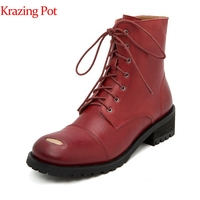 Krazing pot 2019 genuine leather round toe thick med heels patch decoration solid color vintage retro motorcycle ankle boots l51
