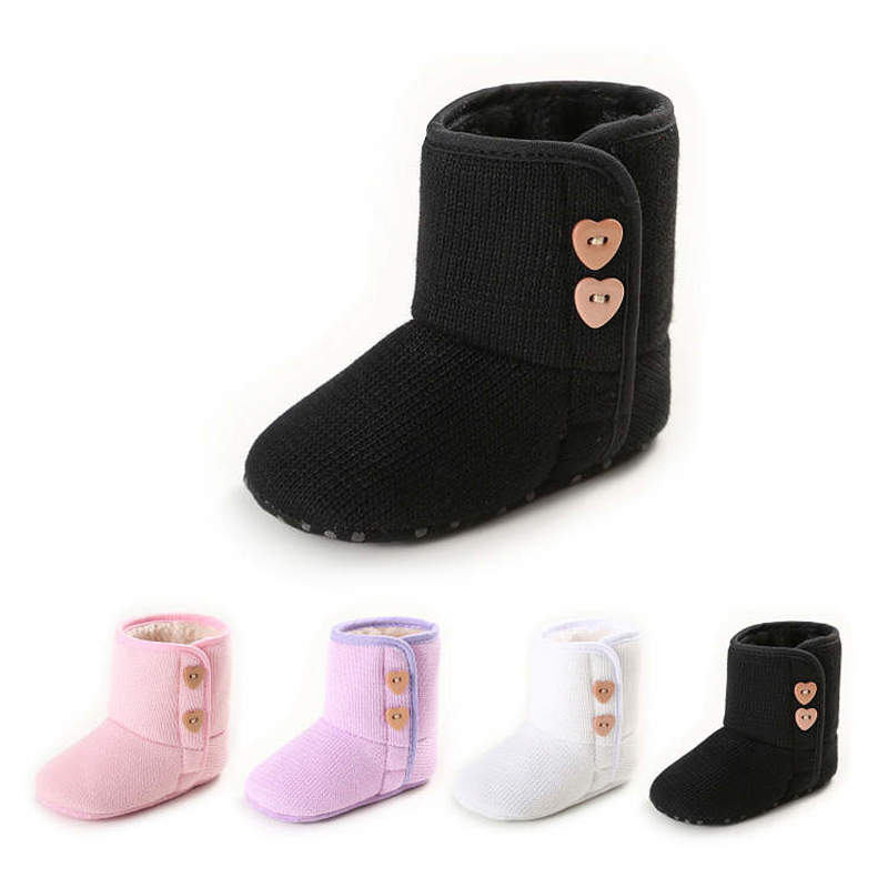 Baby Shoes Girl Crib Shoes Toddler Infant Newborn Fluff  Long Barrel  Soft Sole Anti-slip Infant Baby Shoes Moccasins