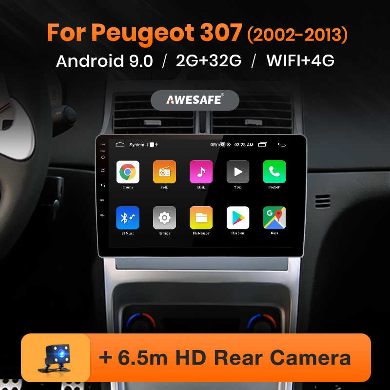 AWESAFE PX9 para Peugeot 307 2002-2013, reproductor de vídeo Multimedia con Radio para coche, GPS No 2 din Android 9,0 2GB + 32GB