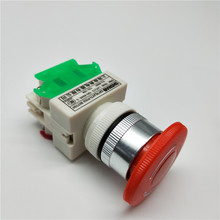 1PCS Plastic Shell Red Sign Push Button Switch DPST Mushroom Emergency Stop Button AC 660V 10A NO+NC LAY37-11ZS lhll red mushroom cap 1no 1nc dpst emergency stop push button switch ac 660v 10a
