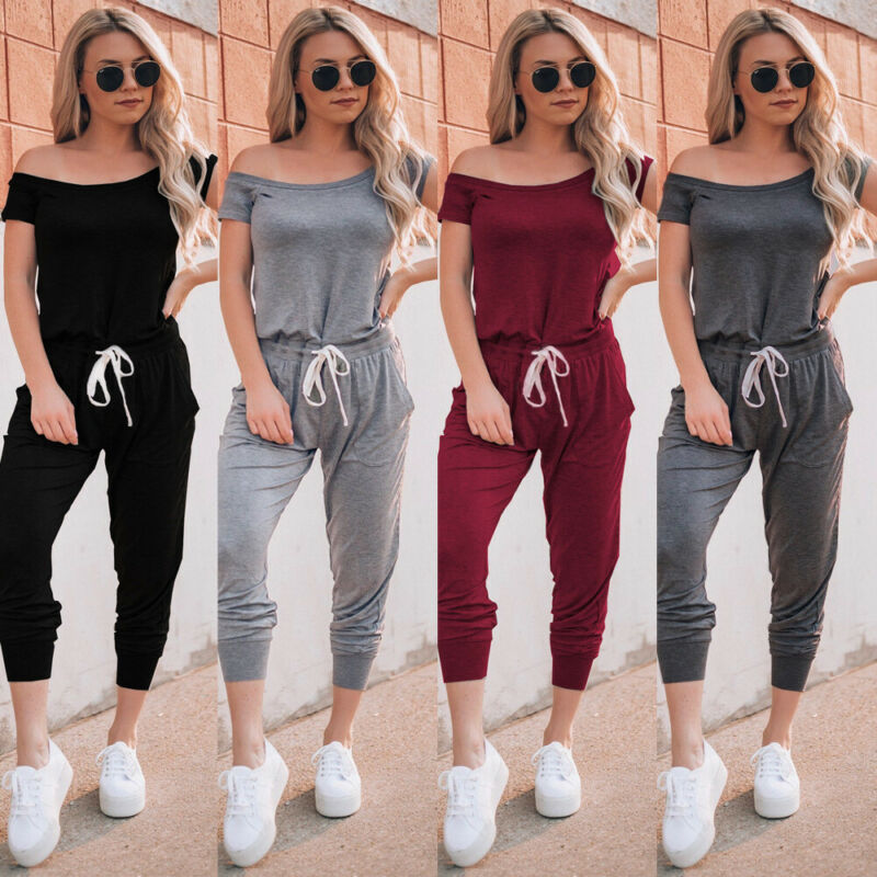 Womens One Shoulder Short Sleeve Rompers Casual Long Pants Jumpsuit Outfit With Elastic Drawstring