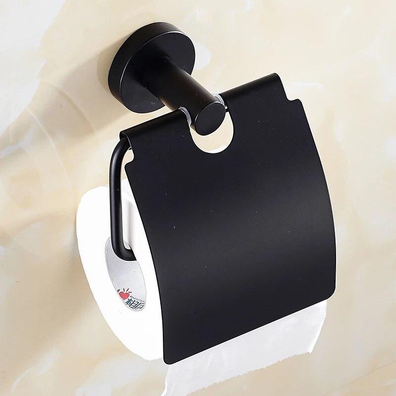 нержавеющая сталь ванная туалет бумага держатели стена крепление рулон ткань стойка черный рулон бумага держатель