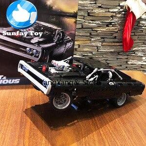 42111 в наличии Technic Dom's doged Charger Building Blocks Creator Expert Super Car Bricks Set модель автомобиля 43211 21047 180139