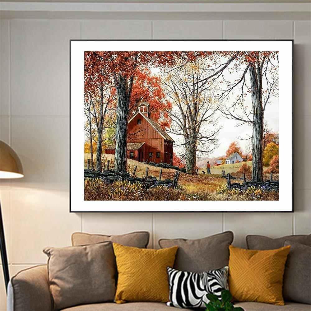 Automne paysage arbres diamant peinture scénique rond plein forage 5D nouveaute mosaïque broderie bricolage point de croix décor à la maison cadeaux