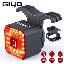 Giyo inteligente bicicleta cauda luz traseira de freio usb ciclismo lanterna traseira da lâmpada da bicicleta parada automática led volta recarregável IPX6-Waterproof segurança