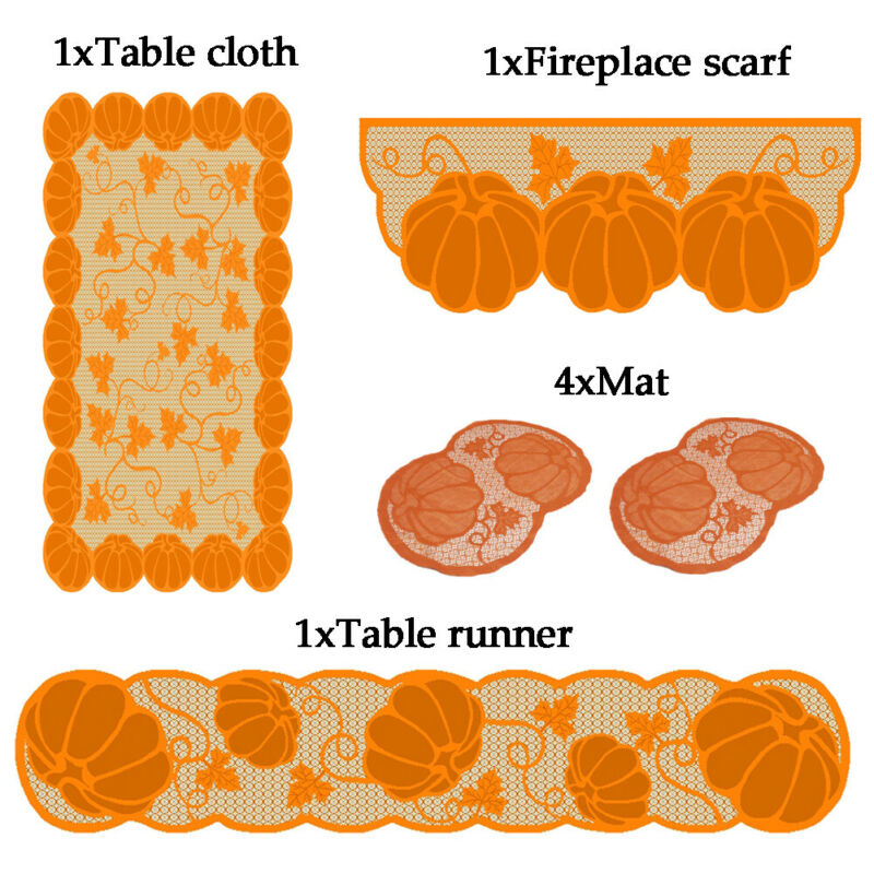 Table Runner Lace Pumpkin Halloween Cover Thanksgiving Table Cloth Table Flag Witch Bat Desktop Decoration Gift