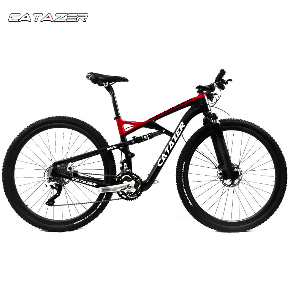 CATAZER Carbon Mountain font b Bike b font 29 Wheelset Suspension Frame 20 30 Speeds Profession