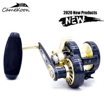 цена на CAMEKOON saltwater fishing reel left/right handle slow Jigging wheels Trolling fishing wheel up to 32kg max drag all metal wheel