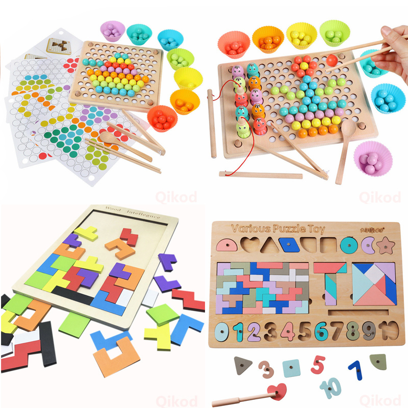 Wooden Montessori Toys 3D Puzzles Geometric Shape Cognition Match Baby Early Education Teaching Brain Training Toys For Children