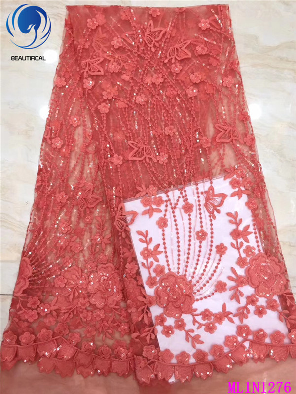 BEAUTIFICAL French African Lace Embroidery 2019 High Quality Tissu Lace Wedding Tulle Net Lace Nigerian Mesh Lace ML1N1276