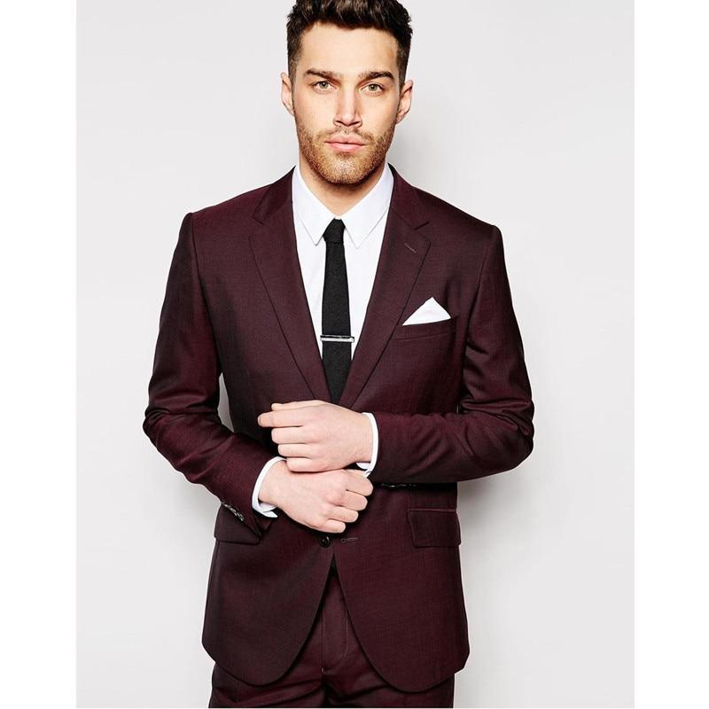 New Design Burgundy Man Suit Custom Made Groomsman Suit Wedding Suit Groom Tuxedos Men Suits (jacket+pants)