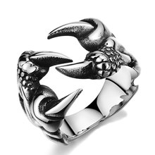 2019 New Rock Punk Male Biker Rings Stainless Steel Dra*gon Cl*aw Rings For Men Vintage Gothic Jewelry Drop Shipping(China)