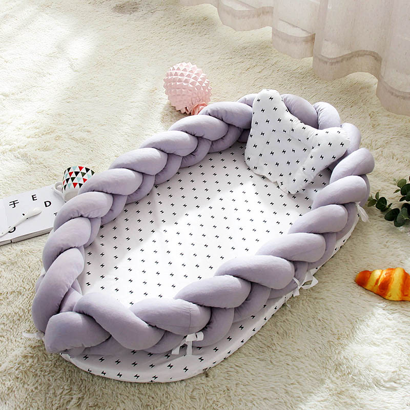 Portable Baby Knit Crib With Pillow Newborn Sleeping Nest Playen Bed Travel Bassinet Bumper Removable And Washable 0-24months