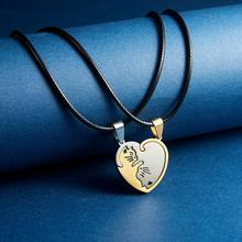 Heart-shaped Love Black White Gold Kitten Hug Stainless Steel Stitching Necklace Yin Yang Tai Chi for Couple
