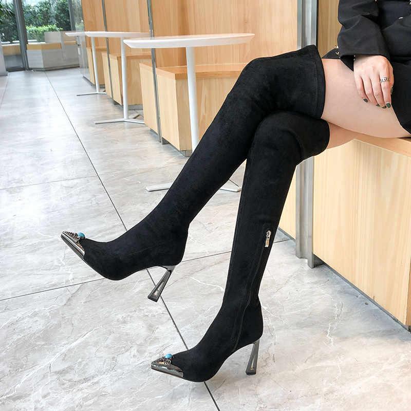 FEDONAS Sexy strass femme grande taille chaussettes bottes hiver troupeau talons minces chaussures de bal femme Slim femmes sur le genou bottes hautes