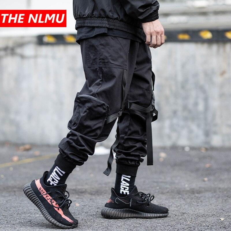 Men Elastic Waist Harem Pant Men Streetwear Ribbons Punk Hip Hop Casual Trousers Joggers Multi-pocket Male Dancing Pant GW655
