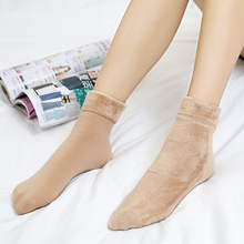 Casual Socks For Women Nylon Plus Velvet Thickening Solid Breathable Elastic Force Ladys Mid Winter