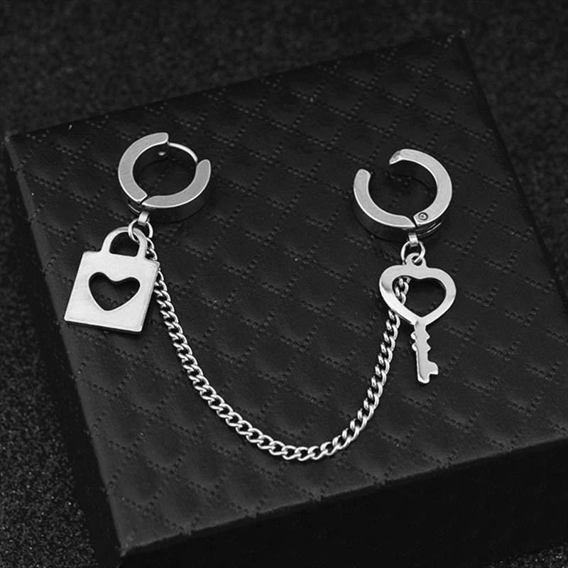 Korea kpop 9 style stainless steel Five-pointed Star Love <font><b>Heart</b></font> Stud <font><b>earrings</b></font> Key <font><b>Lock</b></font> Chain Man Punk <font><b>Earrings</b></font> Jewelry image