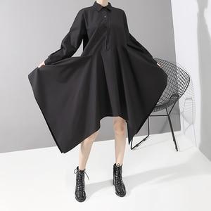 Image 2 - New 2019 Women Long Sleeve Autumn Fashion Shirt Dress Solid Black Asymmetrical Ladies Stylish Casual Dresses Robe Femme 5510