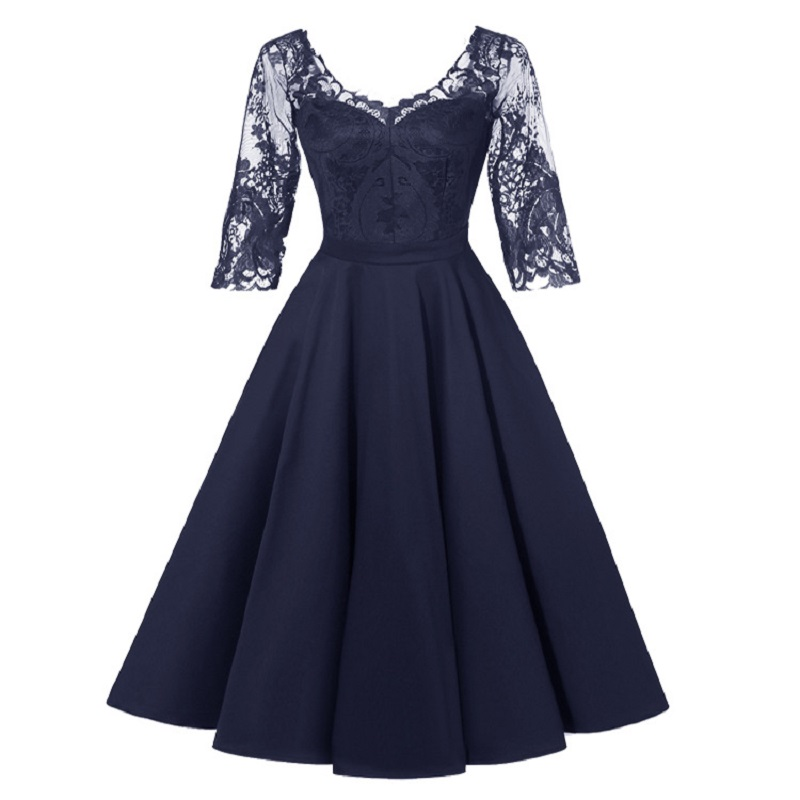 Elegant Lady's Wedding Party Bridesmaid Lace Stitching In Sleeve Banquet Dress Women's Dance Banquet Dress