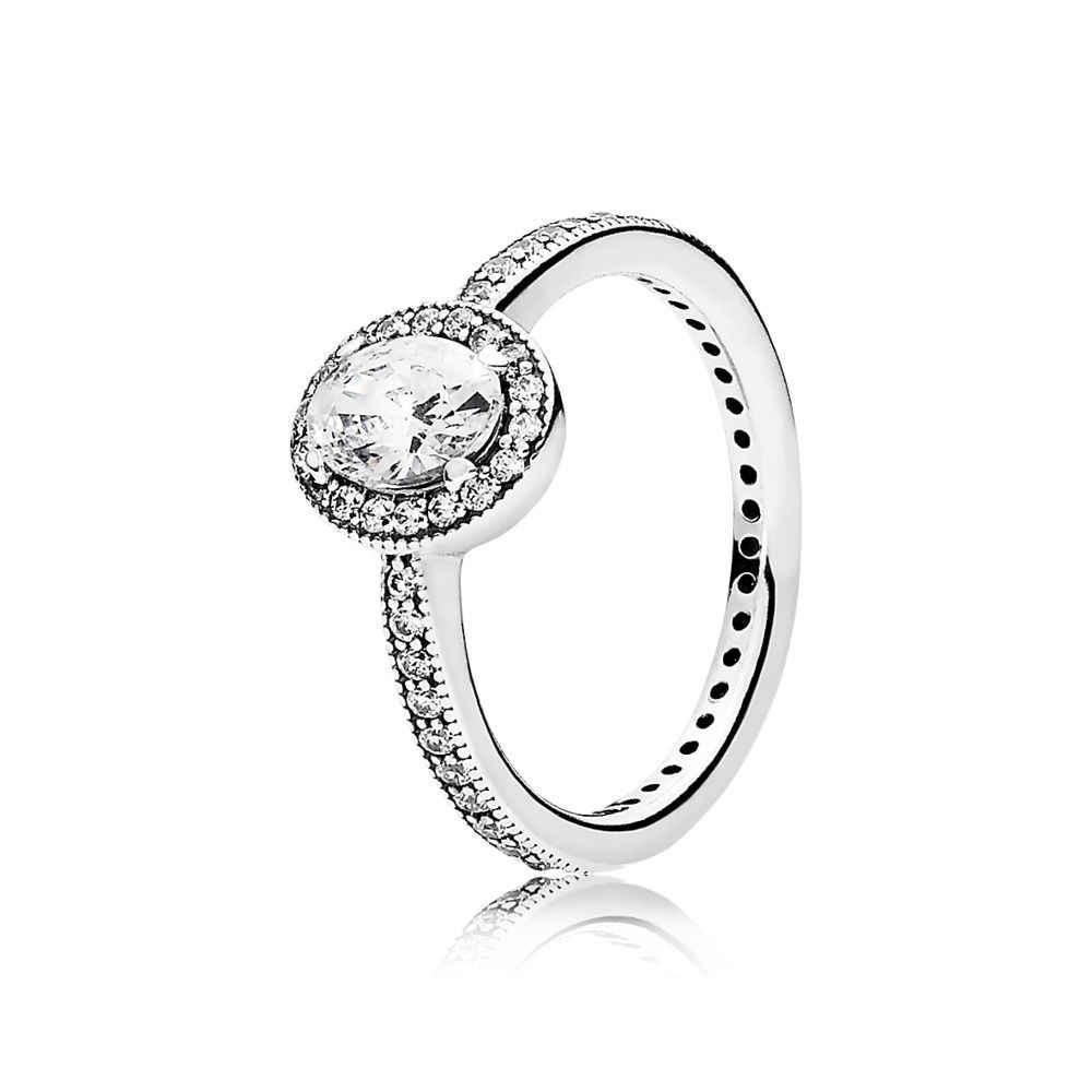 ผู้หญิง Fing แหวนเงินรอบ CZ ใหญ่สีขาวสำหรับงานแต่งงานของผู้หญิงแหวนเงินของขวัญเครื่องประดับ