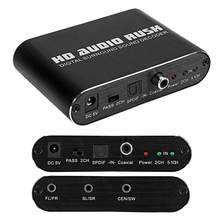 Decodificador de audio Digital DTS AC3, convertidor Coaxial de fibra de 5,1 canales analógico para interfaz RCA o auriculares de 3,5mm
