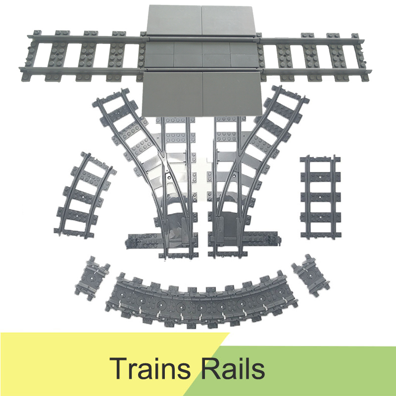 City Trains Tracks Flexible Accessory Flexible Rail Switch Building Block Bricks Toys Compatible LegoINGlys Tracks