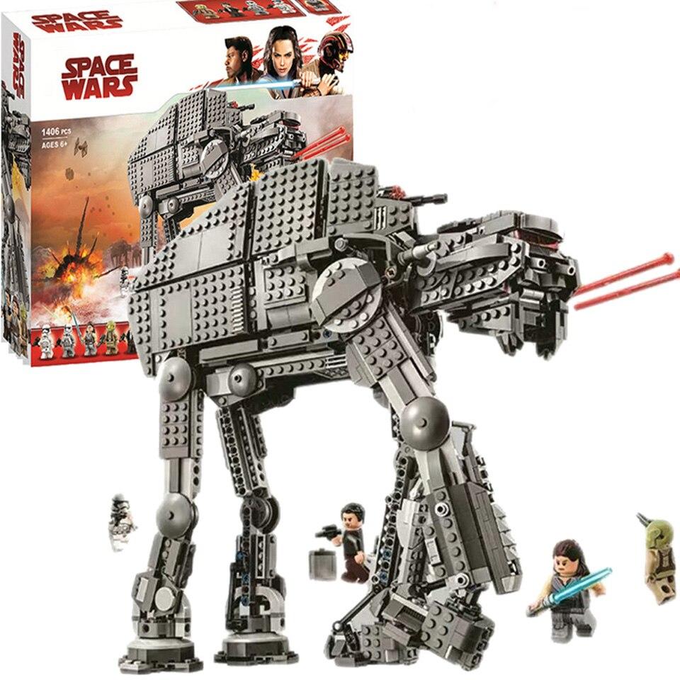 05130 10908 Star Wars série premier ordre assaut lourd Walker bloc de construction briques compatibles Lepining 75189 Starwars jouets