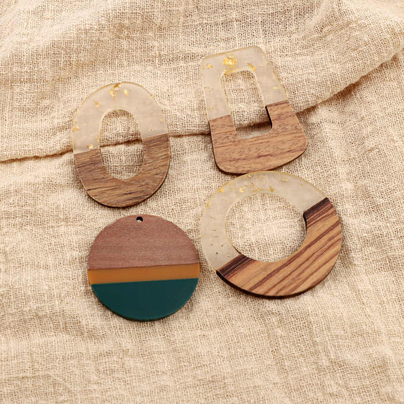 Vintage Splice Natural Wood Resin Earring Charms Pendant Findings Geometric Dangle Earring Necklace Jewelry Diy Accessory F644