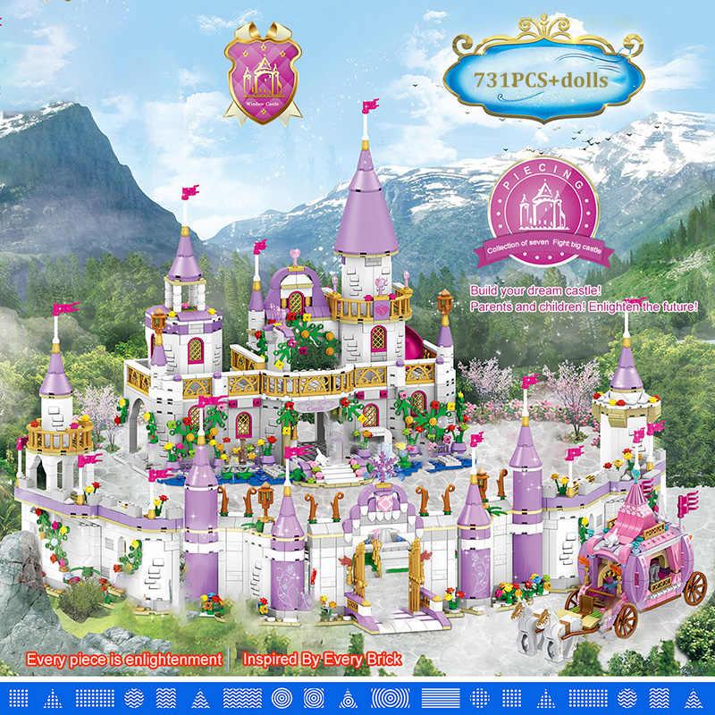 731PCS Princess Series Castle Building Blocks magico castello di ghiaccio mattoni compatibili ragazze amici giocattoli educativi per bambini