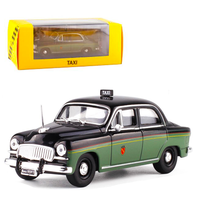<font><b>1</b></font>:<font><b>43</b></font> 1955 Taxi Scale Diecast Alloy Green Color Classic <font><b>FIAT</b></font> 1400-ROMA <font><b>Car</b></font> <font><b>Model</b></font> Matel Vehicles Art Toys for Children Collection image