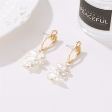 European and American Personality Bohemian Earrings Irregular Geometric Pearl New Asian Gold