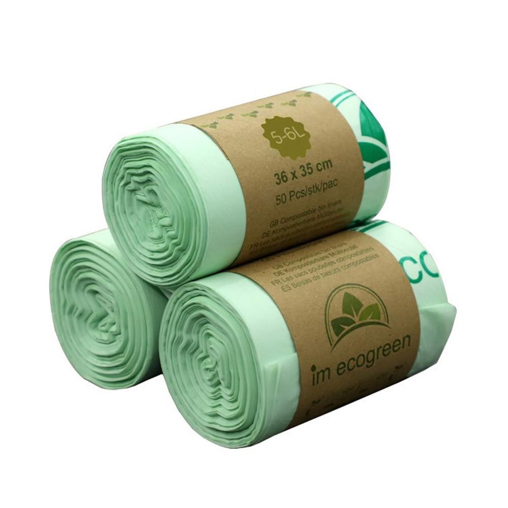 50pcs Kitchen Environmentally Biodegradable Garbage Bags Garbage Bags Compostable Bags Degradable Garbage Bags