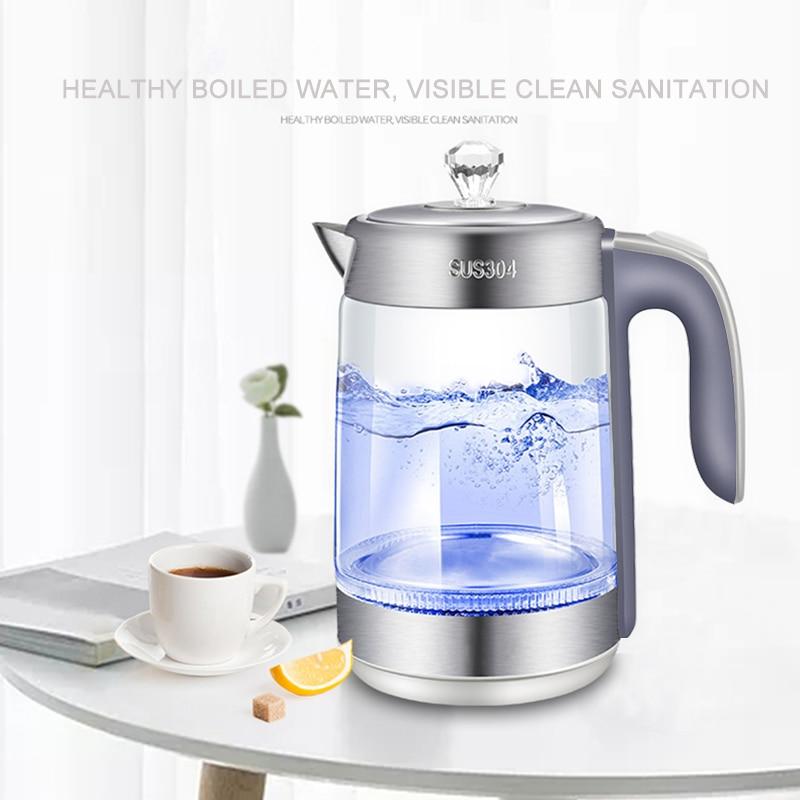 Image 4 - 1.8л BPA бесплатно 2200 Вт SpeedBoil электрический стеклянный чайник беспроводной чай кофейник синий светодиодный светильник автоматическое отключение защита от сухости-in Электрические чайники from Бытовая техника