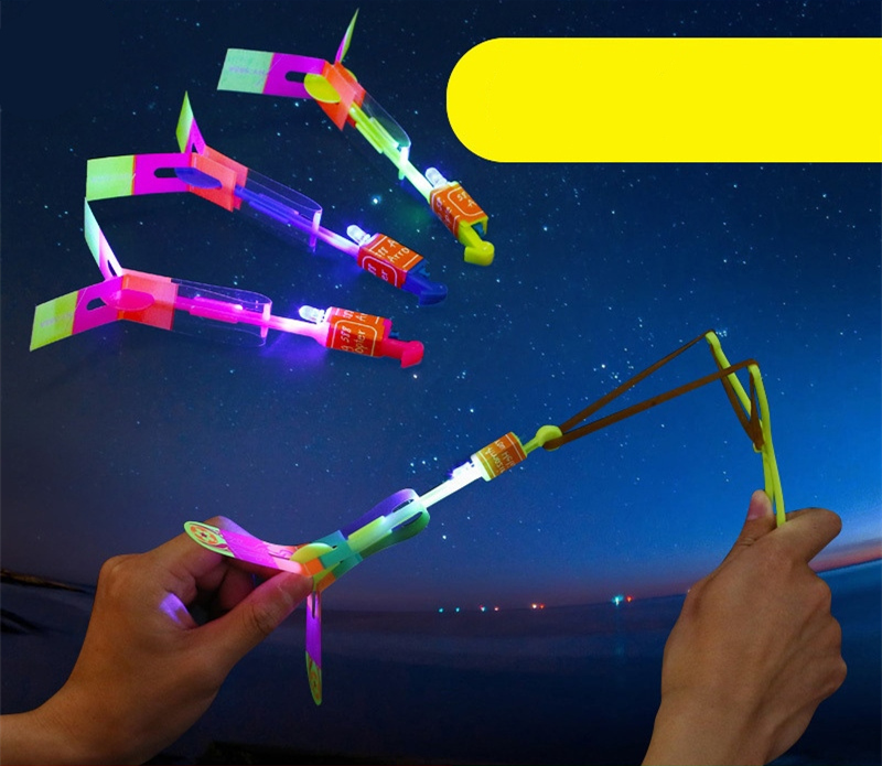 Flashing Fly Helicopter Toy  3PCS/SET LED Light Arrow Rocket Rotating Flying Toys Outdoorfor Children YJS Dropship