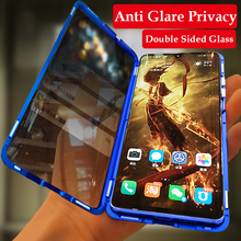 Anti Glare Privacy Magnetic Phone Case For Huawei P30 Pro NOVA 5i 4 Double Sided Glass Cover Metal Bumper Honor 10 20 9X
