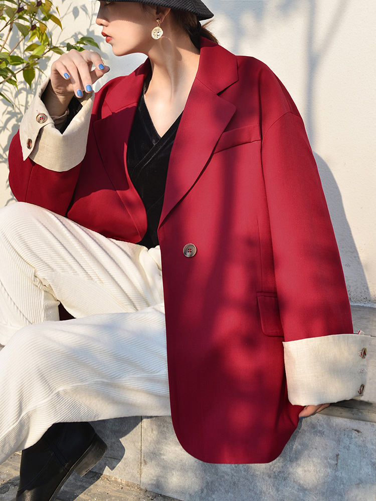 Stylish Korean Ladies Blazer Solid Khaki Casual Loose Suit Jacket Vintage Bayan Mont Office Women Blazer Spring Autumn MM60NXZ