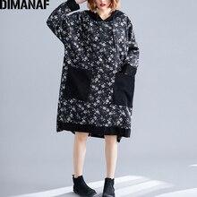 DIMANAF בתוספת גודל נשים שמלת 2019 חורף בציר קורדרוי עבה גדול גודל Loose נקבה Vestidos ארוך שרוול הדפסת פרחוני סלעית