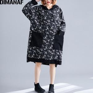 Image 1 - DIMANAF プラスサイズ女性のドレス 2019 冬ヴィンテージコーデュロイ厚いビッグサイズルース女性 Vestidos 長袖プリント花フード付き