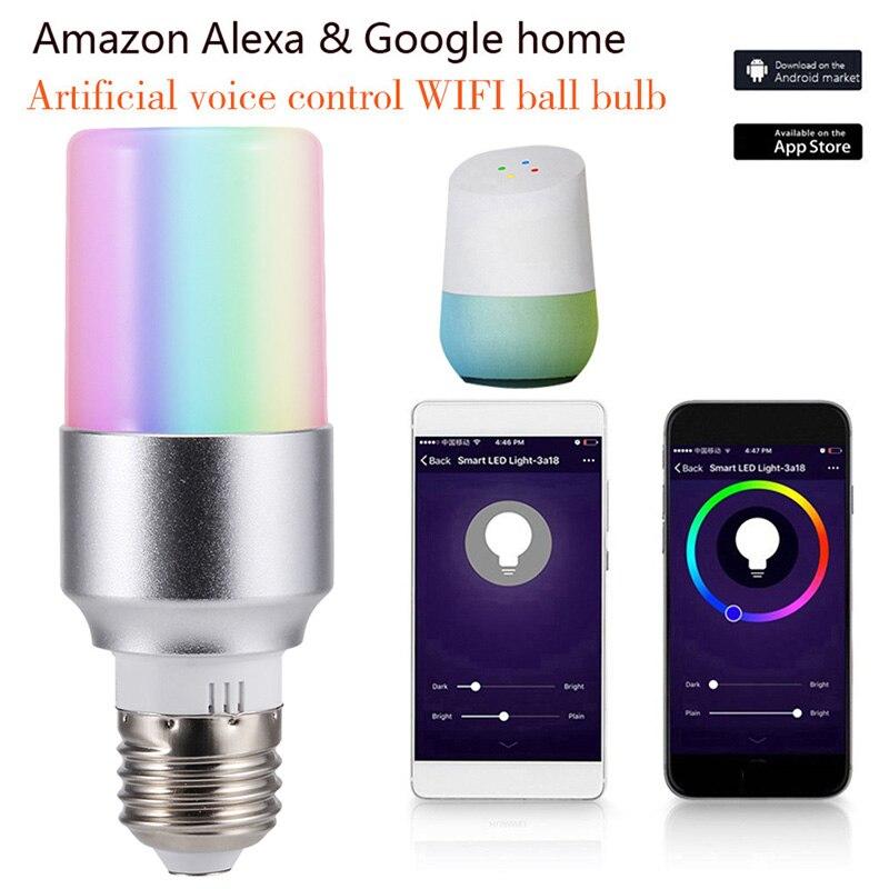Smart Light Bulb APP Remote Control Smart WIFI Light Bulb Color Adjustment Connect Amazon Alexa Google House E27 E14 B22