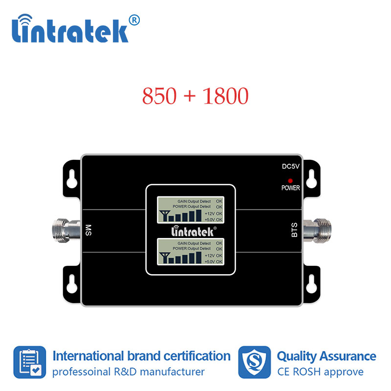 Lintratek 4G 850MHz 1800 DCS CDMA Cellular Booster Dual Band 1800 Mobile Cell Phone 850 Signal Booster Repeater Amplifier S8