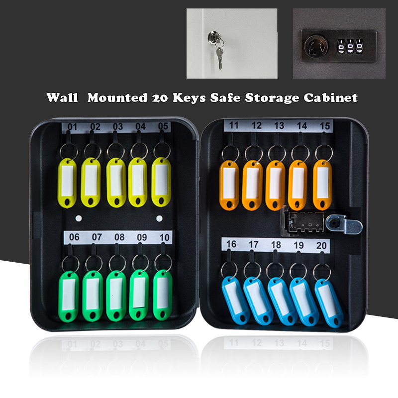 Metal 20 Keys Safe Storage Box Combination/Key Lock Wall Mounted Spare Car Keys Organizer Cabinet For Home Office Apartment
