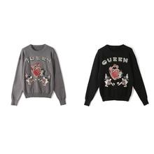 Sweater Flower-Pullover Letter O-Neck Korean-Style Winter Fashion Women Long-Sleeved