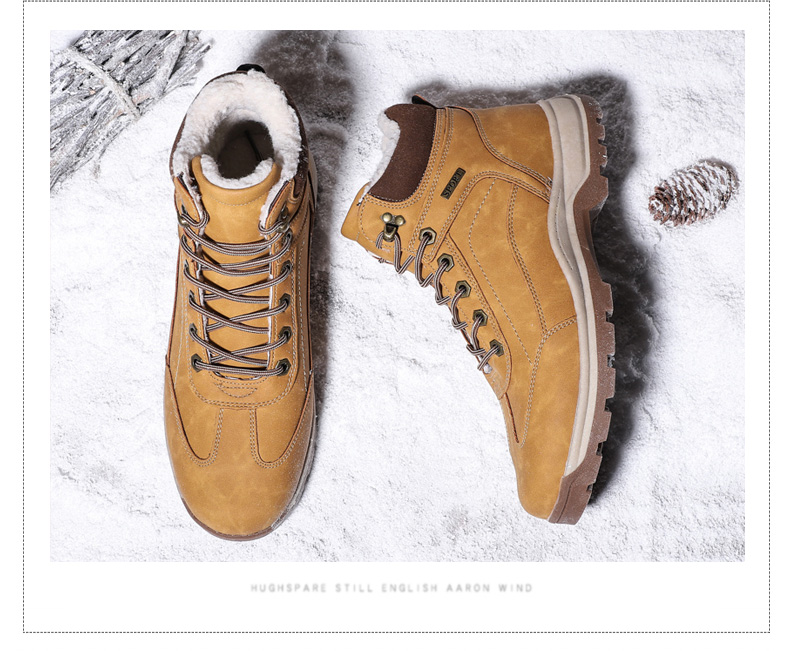 DEKABR Genuine Leather Fur Winter Warm Men Boots