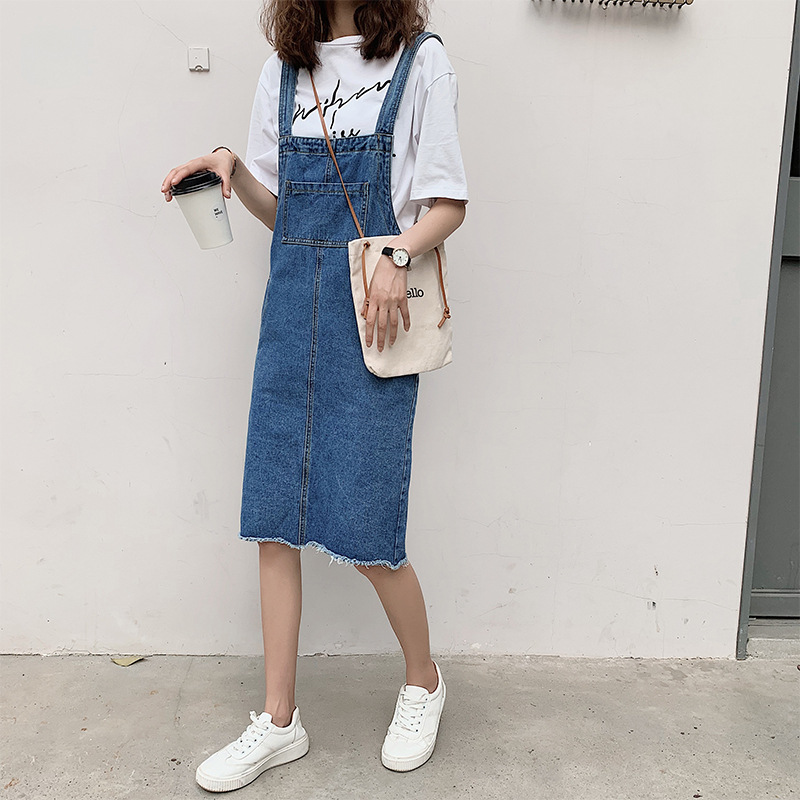 Large Size Suspender Skirt Plus-sized Womenswear Size Summer Loose-Fit Slimming Belly Covering Strapped Dress Mid-length Denim S